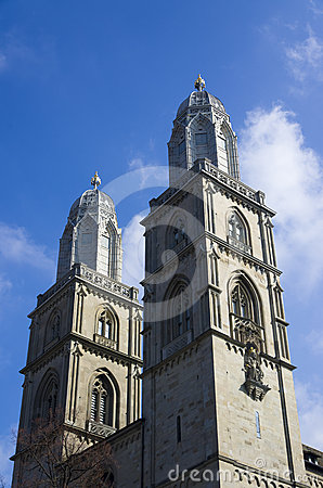Towers of Grossmunster church, Zurich