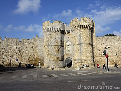 Towers guards the entrance outside the city walls, Rhodes, Greece Stock Photo