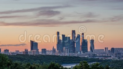 Towers Moscow City sunset time lapse 4K stock video footage