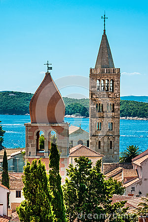 Free Towers On The Rab Cathedral And Church Of St. Justina Stock Image - 42921751