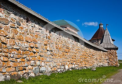 Towers and wall of Solovetsky Orthodox monastery