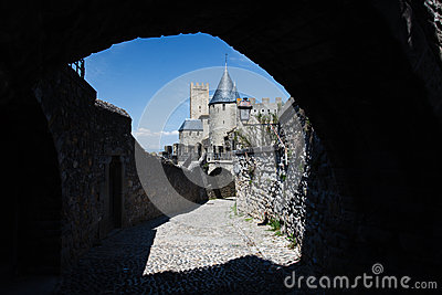 Towers and walls of Carcassonne thru rampart hole