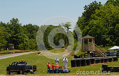 Towing race car from track Editorial Stock Photo