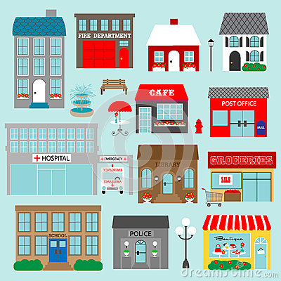 Free Town Buildings Clipart Royalty Free Stock Image - 70837326
