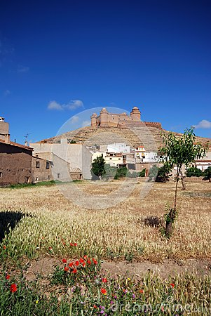 Town and castle, La Calahorra, Andalusia, Spain.