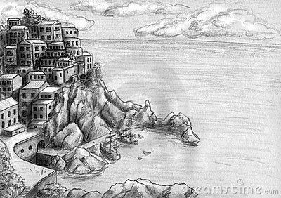 Town at the cliff by the sea