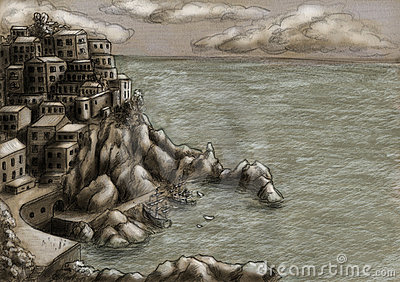Town at the cliff by the sea 2