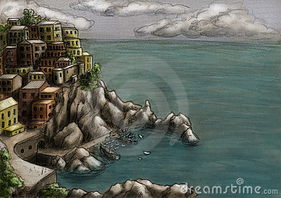 Town at the cliff by the sea 3