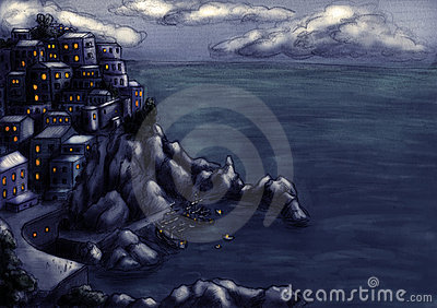 Town at the cliff by the sea 4