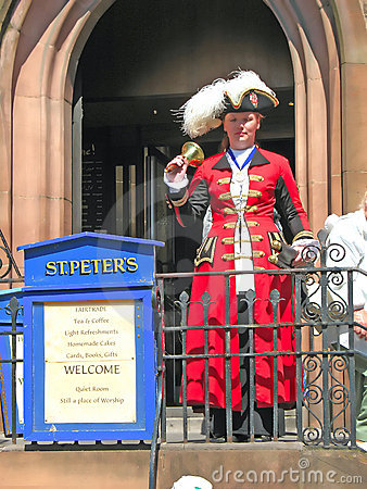 Town Crier in Chester England UK Editorial Stock Image