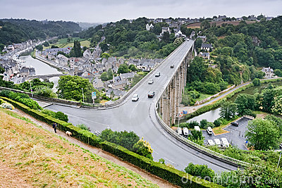 Town Dinan and river Rance, France Editorial Stock Image