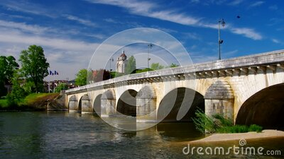 The town Dole and bridge stock footage