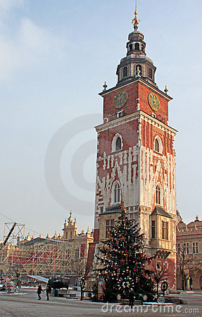 Town hall with clock in winter