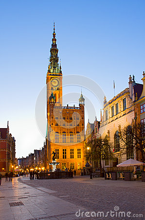 Town hall of Gdansk at night
