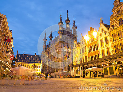 Town Hall in Leuven At Night