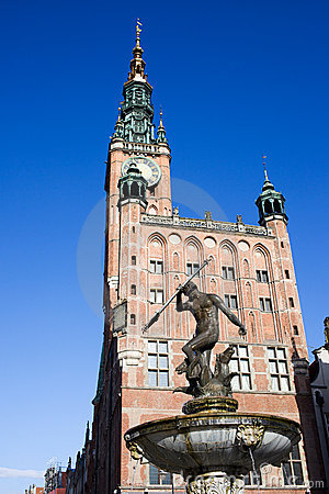 Town Hall and Neptune Statue in Gdansk