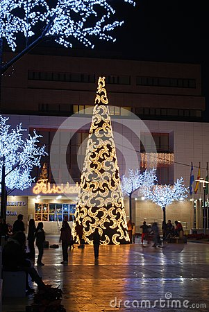 Modern Christmas tree, Fuengirola, Spain.