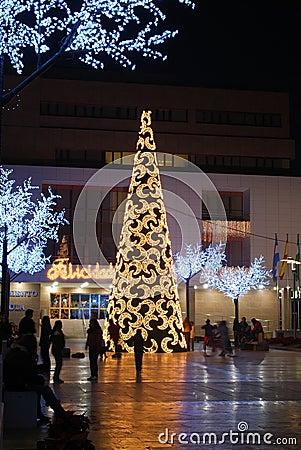 Modern Christmas tree, Fuengirola, Spain.