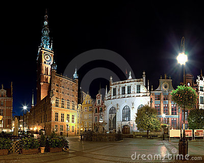 Town Hall at night in Gdansk