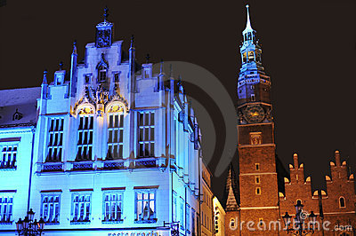 Town Hall in Wroclaw on Silvester Eve
