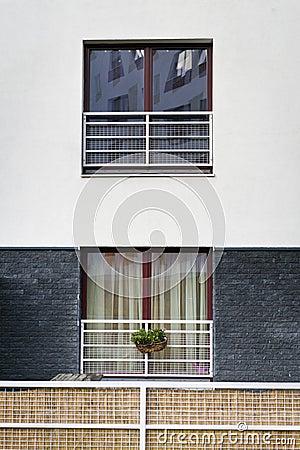 Town house exterior window