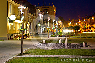 Town of Krizevci walkway night scene