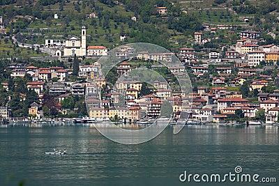 Town on a lake