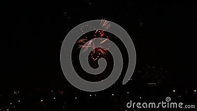 Town lamp lights under firework stock video footage