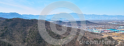 The town and mountains from Beijing Baiwangshan Peak Editorial Image