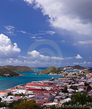Free Town Of Charlotte Amalie And  Harbor Stock Image - 18470831