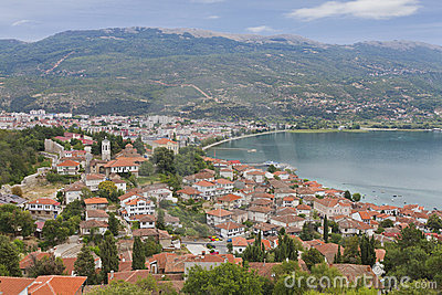 Town of Orid at lake Ohrid