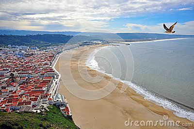Town at the Pacific ocean in Portugal
