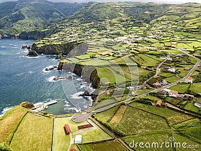 Town of Ponta Delgada aerial Stock Photo