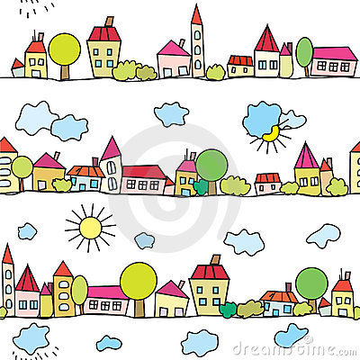 Town seamless funny pattern