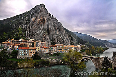 Town of Sisteron in Provence, France