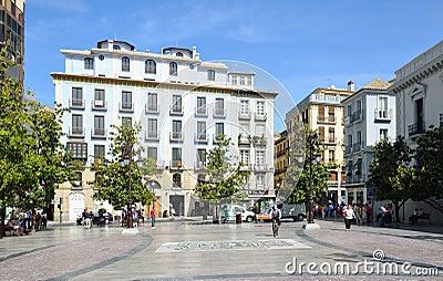 Town square in spring Granada Editorial Stock Image