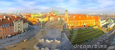 Town Square in Warsaw (Tilt-shift effect)