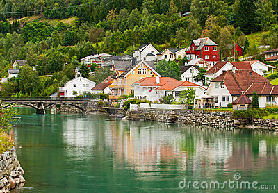 Town Stryn on river bank