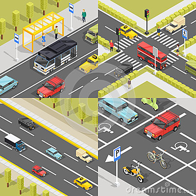 Town Traffic Square Banners Vector Illustration
