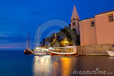 Town of Veli Losinj church and harbour