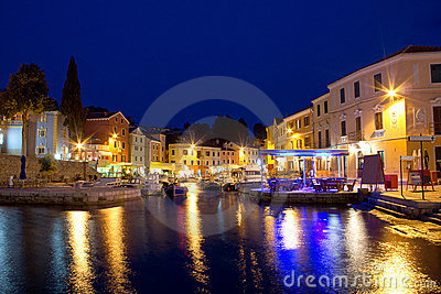 Town of Veli Losinj waterfront evening