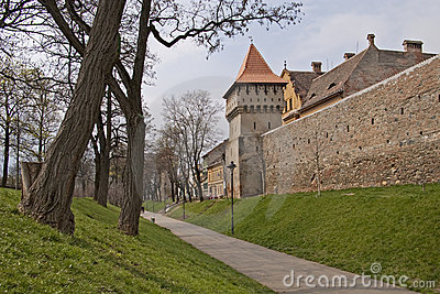 Town wall and tower in Sibiu medieval construction