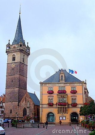 Townhall and clock tower of Obernai city - Alsace