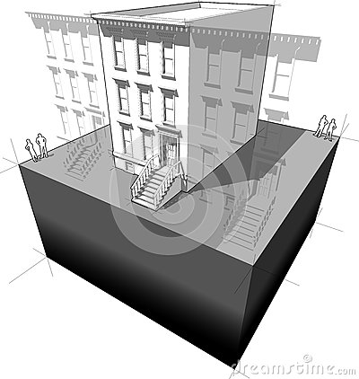 Townhouse diagram royalty free stock image image 36681226 for Typical brownstone floor plan