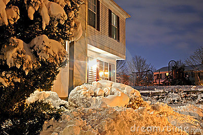 Townhouse After Snowstorm