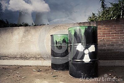 Toxic drum barrels outside nuclear plant