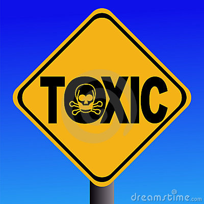 Toxic text sign with skull