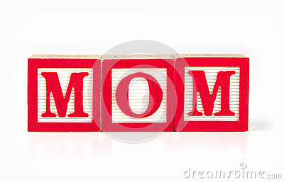 Toy alphabet blocks spelling MOM