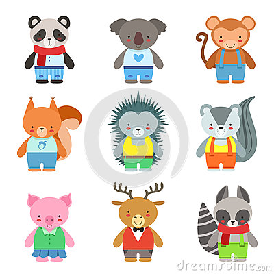 Free Toy Animals Dressed Like Kids Characters Set Royalty Free Stock Images - 82170019