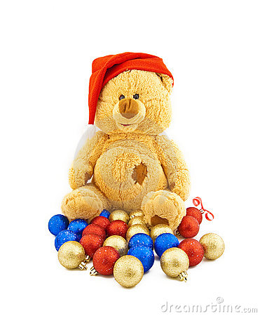 Toy bear in a Christmas cap